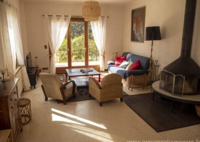 Salon, avec 2 fauteuils, canapé 3 places, cheminée, télévision écran plat, tapis, meubles divers, baie vitrée donnant sur la terrasse